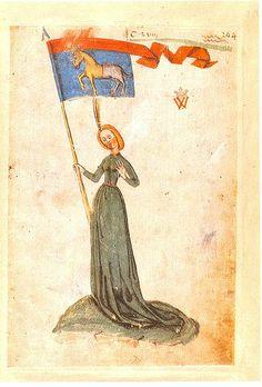 Bannerträgerin der Gesellschaft vom Esel, Ingeram-Codex, Hans Ingeram, Heidelberg, 1459