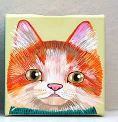 cat original painting on canvas by KrissyMcLean on Etsy