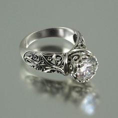 The ENCHANTED PRINCESS Moissanite 14K gold by WingedLion on Etsy, $2,435.00