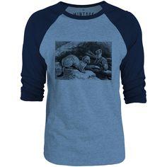 Mintage Short Tailed Weasel 3/4-Sleeve Raglan Baseball T-Shirt (Cobalt Marle / Navy)