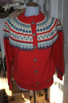 Dale of Norway Classic Vintage Red Sky Blue Fair Isle Wool Cardigan Sweater L | eBay