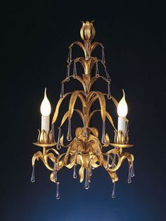 """""""Salice"""" wrought iron wall lamp with pending by effebiweb.com"""