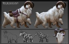 Another design from my creature design class, a ride-able mountain goat with six legs.