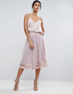 Little Mistress Sheer Panel Tulle Midi Skirt $61.00