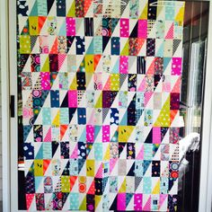 """RMM Quilt: C+S Lefty quilt using the Accuquilt 3""""x6"""" rectangle die and 3""""x6"""" half rectangle triangle die. This quilt uses the left half rectangle triangles."""