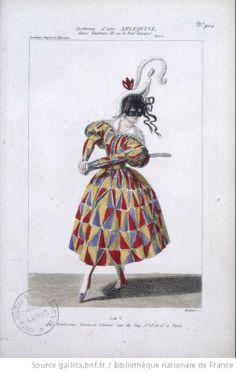 [Gustave III, opéra d'Auber et Scribe : costume d'une Arlequine / gravé par Maleuvre] - 1