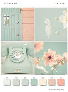 A touch of mint color trend in the home - Jennifer Rizzo Pastel tints color palette mood board Colour Schemes, Color Trends, Color Combinations, Colour Palettes, Vintage Color Schemes, Paint Schemes, Vintage Paint Colors, Summer Color Palettes, Spring Colors