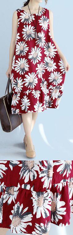 women-red-linen-dresses-oversize-traveling-dress-Fine-sleeveless-floral-cotton-dresses