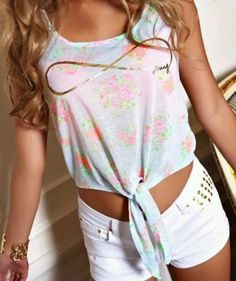 Floral tie front tank