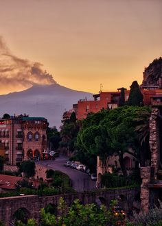 A view on Etna from Taormina.