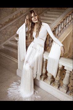 Ángel Blanco, 1970s retro, hippie, wedding dress, long fringe, Vogue Espana