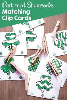 Do a fun, simple St. Patrick's Day-themed matching activity while also working on fine motor activities with these Patterned Shamrocks Matching Clip Cards! Perfect for toddlers and preschoolers. Toddler Fine Motor Activities, Fun Activities For Preschoolers, St Patrick Day Activities, Creative Activities For Kids, Printable Activities For Kids, Preschool Themes, Spring Activities, Kindergarten Activities, Preschool Bible