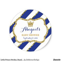 Little Prince Sticker, Royal Blue Faux Glitter Classic Round Sticker Label your baby shower or birthday party items with this fun prince-themed sticker! Text can be edited for a birthday, baptism, or other special occasion.