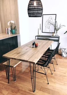 Reclaimed Wood & Metal Dining Table - home/home Dining Table With Bench, Wooden Dining Tables, Table And Chairs, Hairpin Dining Table, Reclaimed Wood Dining Table, Narrow Dining Room Table, Industrial Dining Tables, Mango Wood Dining Table, Wood And Metal Table
