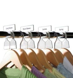 Organizing Tip: The Container Store Simple Division Closet Rod Organizers for neat hanging solutions Container Store Closet, Closet Rod, Master Closet, Ikea Closet, Tiny Closet, Ideas Para Organizar, Cleaning Closet, Cleaning Tips, Closet Organization