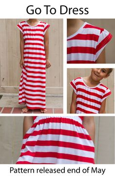 Sewing Tips And Tricks Go-to-dress-stripes-tutorial. Love this dress- comfy style and jersey stripe material Easy Sewing Projects, Sewing Tips, Sewing Hacks, Sewing Ideas, Clothing Patterns, Sewing Patterns, Girls Maxi Dresses, Love Sewing, Learn To Sew