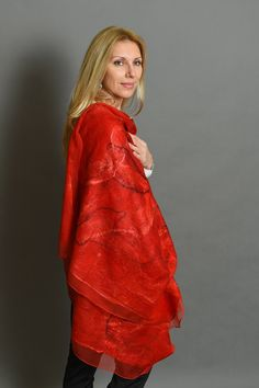 Felted Shawl Red Felted Scarf Felted Wool Scarf Women