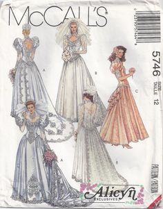 Prom Dress Wedding Gown Sewing Pattern Alicyn McCalls by Rosie247, $6.99