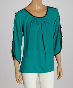 Take+a+look+at+the+Green+Gathered+Cape-Sleeve+Tunic+on+#zulily+today!