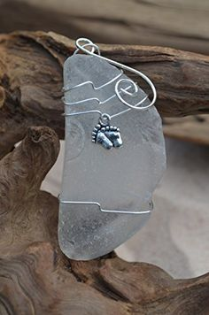 Frosted White Sea Glass Ornament with Baby Footprints