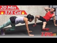 20 Minute HIIT Workout for Fat Loss - Home Cardio, Strength Training, Cardio Kickboxing, Abs Workout - YouTube