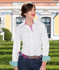 f0222eb80d57d Vollzwirn Bluse mit Besatz Weiß, Pink-Grün, 100 % Baumwolle. Artikelnummer: