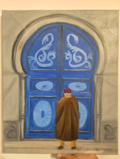 Porte bleue maison tunisienne et traditionnelle. Peinture à l'huile sur toile faite par Sonia Dakhlaoui