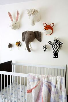 Fiona walker england - classic animal heads by fiona walker england ltd Nursery Room, Kids Bedroom, Baby Room, Nursery Decor, Wall Decor, Room Decor, Wall Art, Animal Heads On Wall, Animal Head Decor