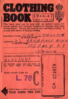 clothing coupons from ration book britain 1940s inspiration for rh pinterest com Ration Books and Stamps Ration Books and Stamps
