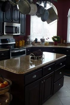 Kitchen Makeover with faux granite countertops and gel-stained cabinetry Diy Kitchen Storage, Kitchen Redo, New Kitchen, Kitchen Remodel, Kitchen Design, Cheap Kitchen, Home Renovation, Home Remodeling, Faux Granite