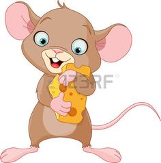 Cute mouse holding a piece of cheese photo