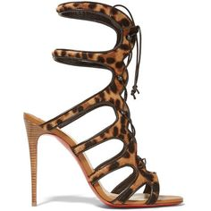 CHRISTIAN LOUBOUTIN Amazoulo 100 leopard-print calf hair sandals ($1,530) ❤ liked on Polyvore featuring shoes, sandals, leopard print shoes, high heels sandals, laced up shoes, tan lace up sandals and christian louboutin sandals