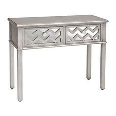 Silver Mirrored Chevron Wooden Console Table | Kirklands