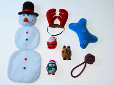 Dog Christmas 7-Piece Gift Set.  Squeaker Dog Toys, Skinny Snowman, Dog Antlers, Holiday Rope Toy, Snowflake Bone. Great Stocking Stuffer! - Adog.co  - 1