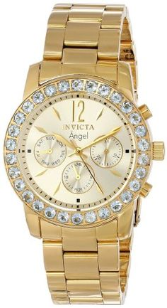 """Invicta Women's 14157 """"Angel"""" 18k Gold Ion-Plated Stainless Steel and Aquamarine Watch. Feminine and luxurious, this timepiece from Invicta's Angel Collection features aquamarine accents and a warm gold-plated construction. Swiss Quartz movement with analog display. Protective Flame-Fusion crystal dial window. Features 18k gold ion-plated stainless steel, day-date-24 hour subdials, 30 aquamarine stones on bezel. Water resistant to 330 feet (100 M): suitable for snorkeling, as well as…"""