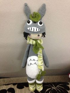 lalylala the totoro. designed by Celine. free pattern available here: https://onedrive.live.com/?cid=05E6F555E5F39D9F&id=5E6F555E5F39D9F!138