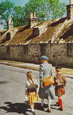Kids coming home from school in Kinloss, Scotland National Geographic ~ July 1956 Collages, Surreal Collage, Photomontage, Mixed Media Collage, Collage Art, Collage Design, Magazine Collage, National Geographic Kids, Coming Home