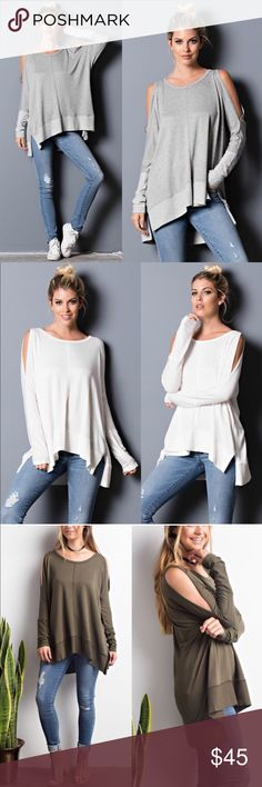 SAMMIE cold shoulder long sleeve top - H. GREY Cold Shoulder Long Sleeve Top  72% RAYON 24% VISCOSE 4% SPANDEX   AVAILABLE IN OLIVE , BLACK, h. grey & WHITE   NO TRADE, PRICE FIRM Bellanblue Tops Tees - Long Sleeve