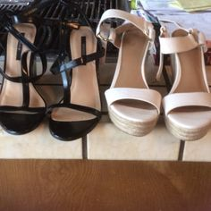 Two pairs Wedges , like new worn once The white pair is from Target , worn once , the black pair is from Forever 21 , worn once , both are 7 1/2 Shoes Wedges