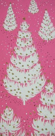vintage pink xmas tree card