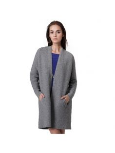 Women's loose solid color extra-long thick cardigan sweater coat ...