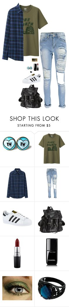 """Grunge"" by lghockey ❤ liked on Polyvore featuring Uniqlo, Boohoo, adidas, Joe's Jeans, MAC Cosmetics and Chanel"