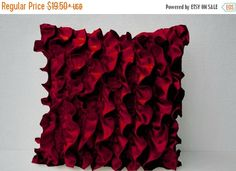 Red Satin Ruffle Pillow - Decorative pillow - Red Ruffle throw pillow - Ruffle throw cushion - Easter decor, gift from AmoreBeaute on Etsy. Green Throw Pillows, Throw Cushions, Sofa Pillows, Red Throw, Accent Pillows, White Decorative Pillows, Decorative Pillow Covers, Ruffle Pillow, Living Room Decor Pillows
