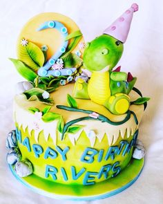 Cute hand modelled Dinosaur topper. Birthday Cake, Joy, Cute, Desserts, Tailgate Desserts, Deserts, Birthday Cakes, Glee, Kawaii
