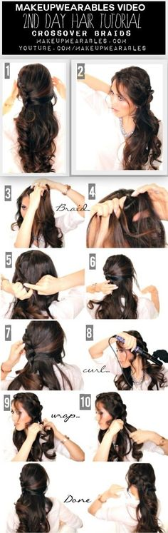 In this quick and easy hair tutorial video, learn how to create a romantic, braided half-updo. A perfect second day hairstyle for everyday. Weave Hairstyles, Pretty Hairstyles, Wedding Hairstyles, Vintage Hairstyles, Summer Hairstyles, Half Up Half Down Hair Tutorial, Half Updo Tutorial, Braided Half Updo, Half Braid