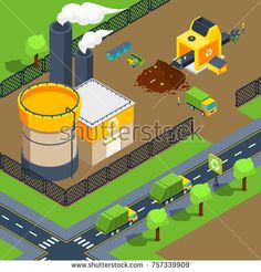 Stock Photo: Recycling plant isometric poster of territory with factory sorting line and trucks for deliver illustration