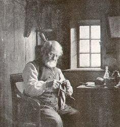 Knitting man.