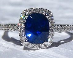 Blue Sapphire Engagement Ring, Ceylon Blue Sapphire in White Gold Diamond Halo Engagement Ring