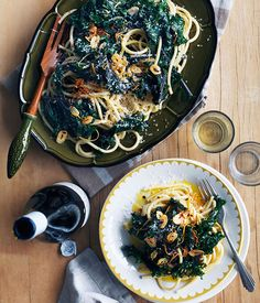 Gourmet Traveller WINE Sicilian pasta recipe for bucatini with wild greens.