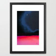 """New Moon - Phase III  by Marina Kanavaki Framed Art Print / Vector Black SMALL (15"""" x 21"""")  $43.00 New Moon Phase, Moon Phases, Framed Art Prints, Watercolor Paintings, Black, Water Colors, Black People, Watercolour Paintings, Watercolor Painting"""